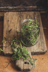 thyme - herb spices - new harvest on a wooden surface (collect and dry)
