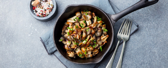 Fried mushrooms with fresh herbs in black cast iron pan. Top view