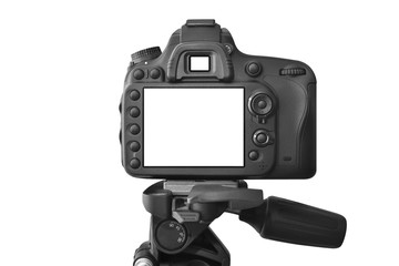 Modern Dslr camera on a tripod, isolated on white background
