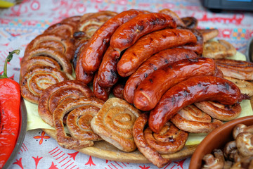Sausages cooked on the grill during the food festival