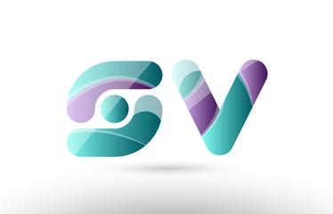 3d letter sv s v green purple alphabet logo icon company design