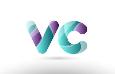 3d letter vc v c green purple alphabet logo icon company design
