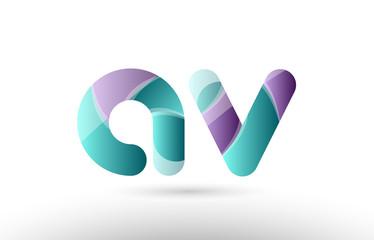 3d letter av a v green purple alphabet logo icon company design