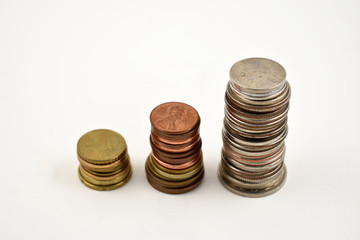 Coin stack stock images. Different coins on a white background. Different types of currencies