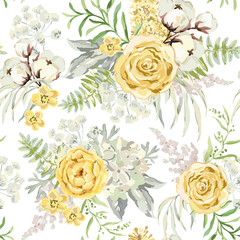 Yellow spring bouquets on the white background. Watercolor vector seamless pattern with delicate flowers. Rose, hydrangea, cotton and light green leaves. Romantic illustration.
