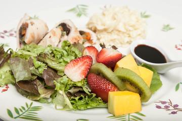 healthy food, balanced lunch protein, salad and arina