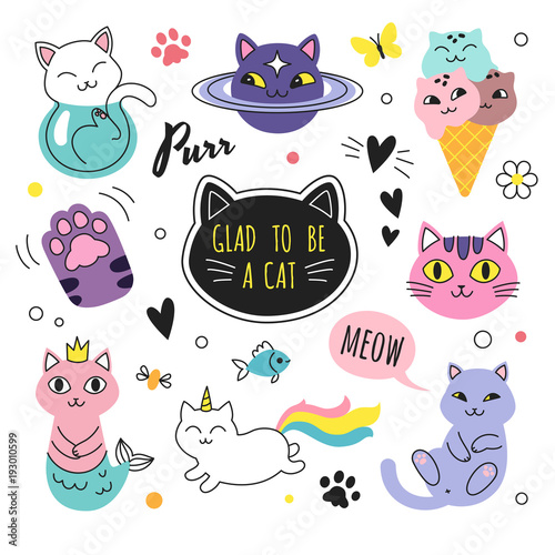 funny doodle cats collection vector illustration of cute cartoon