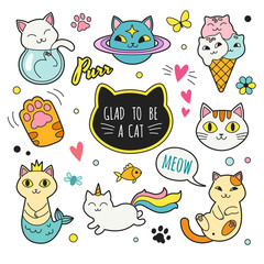 Cats patches collection. Vector illustration of cute funny doodle cats in different poses and unusual interpretation. isolated on white.