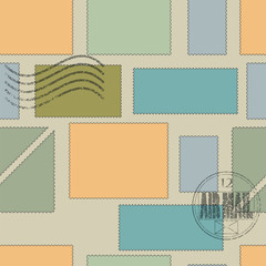 vector seamless pattern. postage stamps of different shapes and sizes and colors on a brown background. post stamp