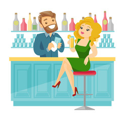 Caucasian white woman sitting at the bar counter and bartender wiping a glass. Young woman relaxing in the bar with a glass of alcohol drink. Vector cartoon illustration isolated on white background.