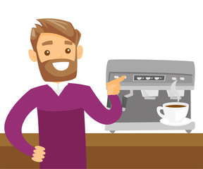 Young caucasian white man making coffee with a coffee-machine. Man standing next to the coffee machine with a cup of hot coffee. Vector cartoon illustration isolated on white background. Square layout