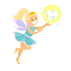 Cute caucasian white blonde tooth fairy with wings flying with tooth. Young tooth fairy in blue dress and crown carrying tooth. Vector cartoon illustration isolated on white background. Square layout.