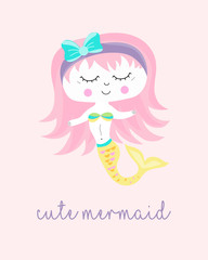 Cute Mermaid character in hand drawn style.  For you design.