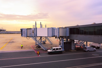 Airport ramp service for for a commercial plane at international airport