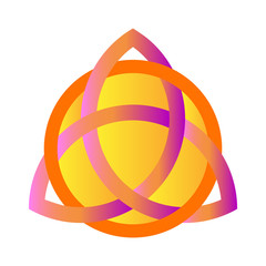 Black Triquetra ornament with purple and golden gradient