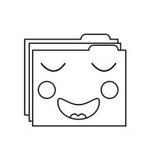 folder file document kawaii character vector illustration outline image
