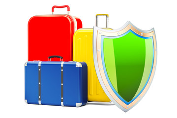 Baggage insurance concept, suitcases with shield. 3D rendering