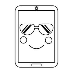 smartphone kawaii phone character cartoon vector illustration outline image
