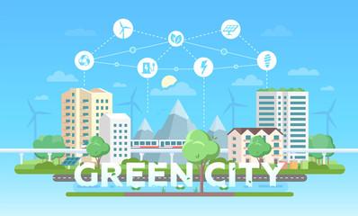 Green city - modern flat design style vector illustration
