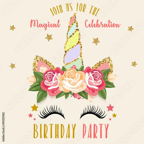 Birthday invitation with unicorn stock image and royalty free birthday invitation with unicorn stopboris Choice Image