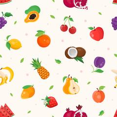 Fresh fruit - modern colorful seamless pattern