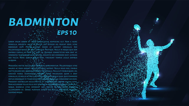 Badminton consists of particles. Badminton consists of dots and circles. Blue badminton on dark background.