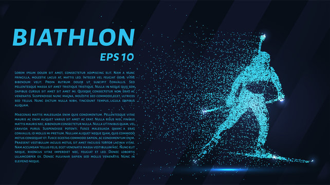 Biathlon consists of particles. The biathlon consists of dots and circles. Blue biathlon on a dark background.