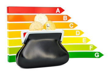 Energy efficiency chart with purse full of golden coins, 3D rendering
