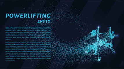 Weightlifter of the particles. Powerlifter consists of dots and circles. Blue powerlifting on dark background.
