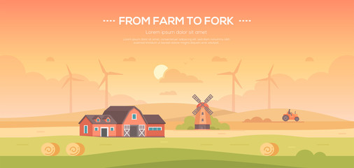 From farm to fork - modern flat design style vector illustration