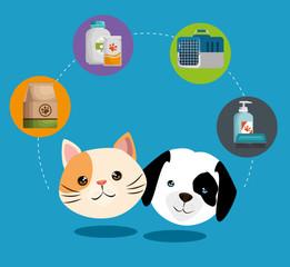 pet shop products set icons vector illustration design