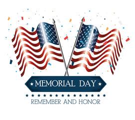 happy memorial day flag vector illustration design