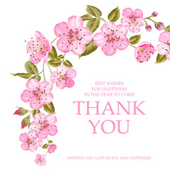 Invitation text card with Thank You sign. Pink flowers garland at the top of holiday card isolated over white background and text place.