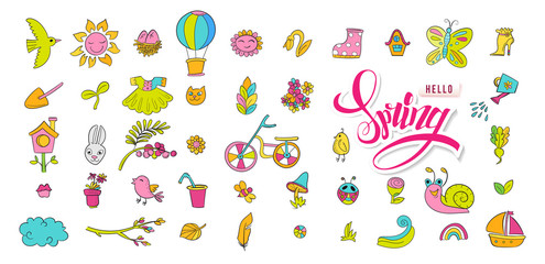 Hand drawn vector set with cute spring doodle elements. Illustration with birds, flowers, bicycle and assesories in doodle style. Hello Spring. Design for prints, scrap booking. Vector illustration