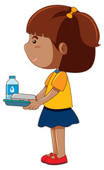 Little girl holding tray with food and drink