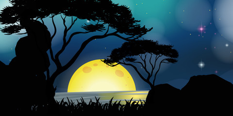 Silhouette scene with fullmoon at night