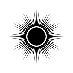 Simple black and white sign of solar eclipse, vector.