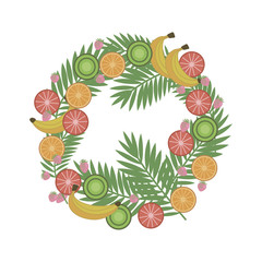 wreath of tropical fruits and berries with palm branches on a wh