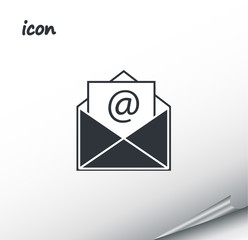 vector icon envelope on a wrapped silver sheet