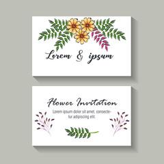 floral decoration flyers postcards vintage style vector illustration design
