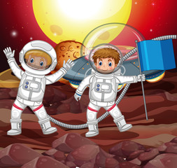Two astronauts on strange planet