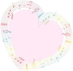 Border template with musicnotes in heart shape