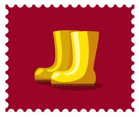 Yellow rubber boots on the purple background. Candy colors vector flat icon.