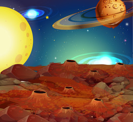 Background scene with moon and other planets