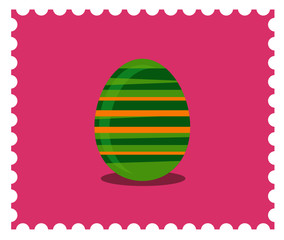 Easter egg illustration. Pink and green.Candy colors vector flat icon.