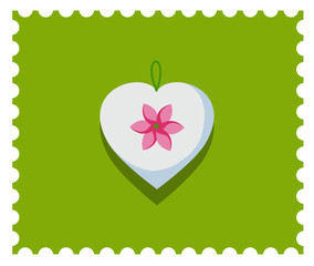 Romantic white heart on the lime green background. Candy colors vector flat icon.