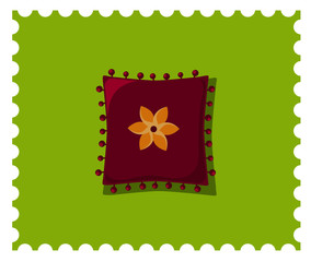 Purple pillow on the green background. Candy colors vector flat icon.
