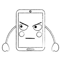 smartphone kawaii phone character cartoon vector illustration sketch image