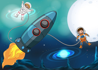 Spaceship and astronauts flying in space
