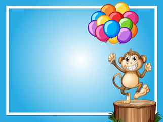 Border template with happy monkey and colorful balloons